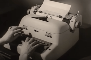 Still from a 1960s advertisment for an IBM electric typewriter