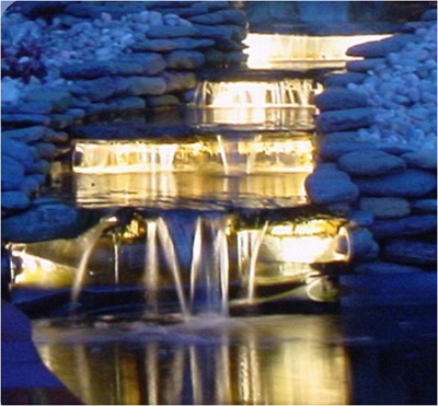 Figure showing a water fall lit from beneath showing the 'Glowing steps ' effect