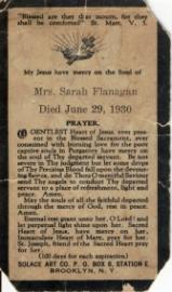 Sarah Kennedy Prayer Card