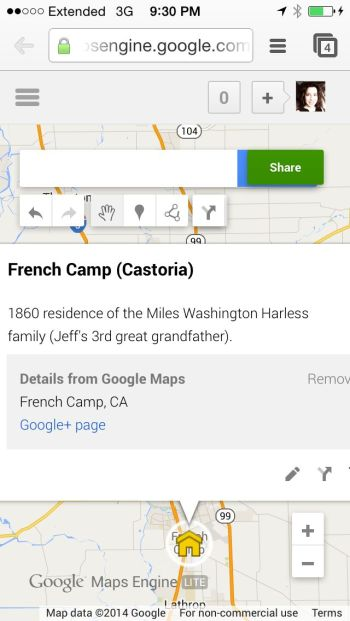 Harless Miles Washington - Ancestry iPhone - French Camp