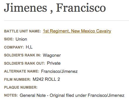 Francisco Jimenez - Civil War Soldiers and Sailors Datbase