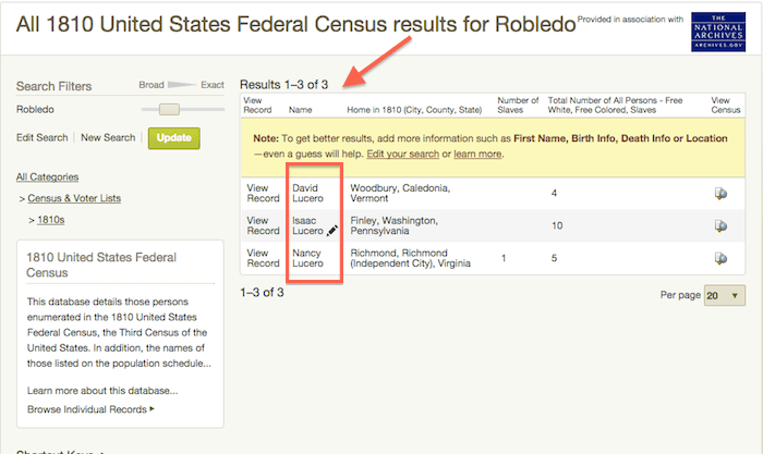 Robledo Search Results - 1810 US Census - Ancestry