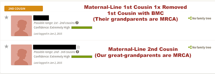 My Initial AncestryDNA Maternal Matches