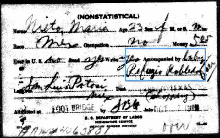 Maria Nieto, 1915 Border Entry Card (Front)