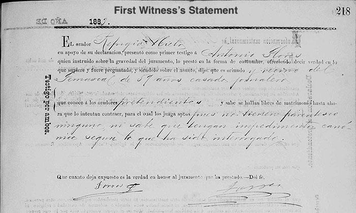 Refugio Nieto and Aurelia Compean Marriage - First Witness