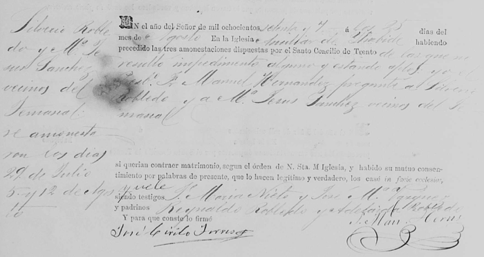 Confirming the 1877 Marriage Date of 2nd Great Grandparents Silverio and Maria Jesus Sanchez