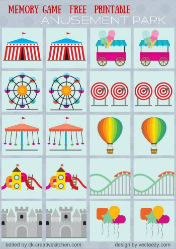 Circus and park - Memory game free printables - Creative Kitchen
