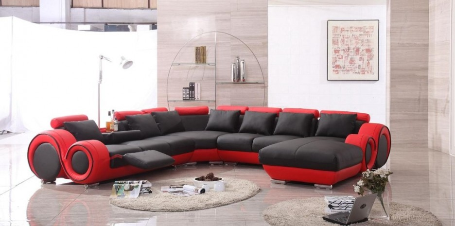 Attractive Franco Leather Sofa Set Black Red French Furniture Warehouse Gallery