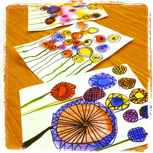Peter reynolds spring watercolor flowers art project for Watercolor painting and projects