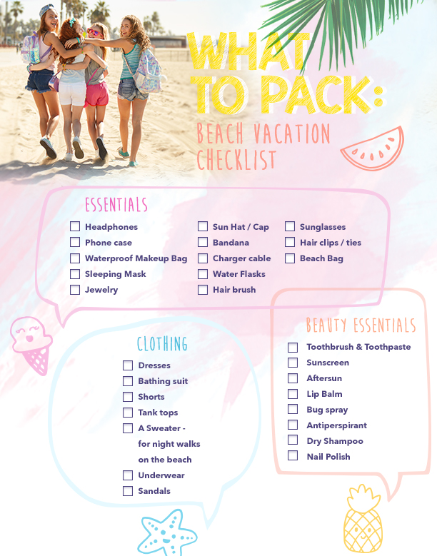 What to Pack Beach Vacation Checklist - #ClairesBlog - Vacation Packing List Printable