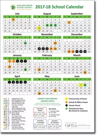 2017-18 OUSD School Year Calendars Now Available Online Claremont