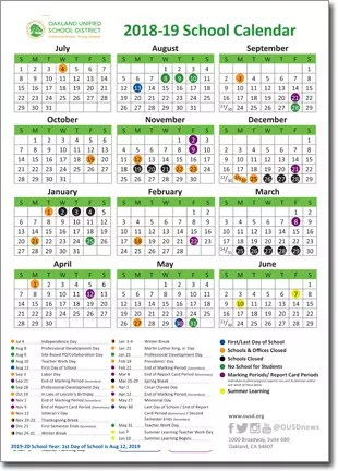 2018-19 OUSD School Year Calendars Now Available Online Claremont
