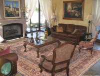 Antique Laver Kirman Rug Creates calm in Sitting Room