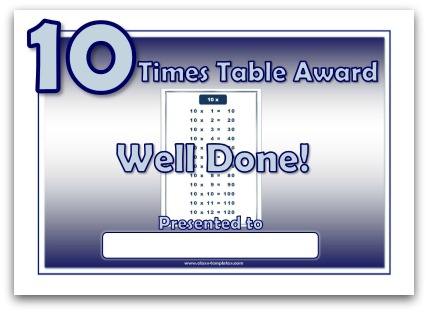 10 Times Table Award Certificate
