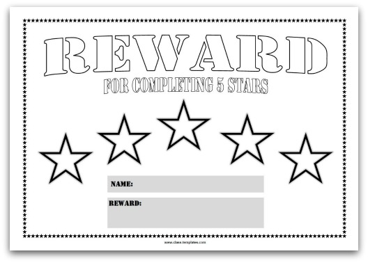 Colourful Reward Charts for Kids - blank reward chart template