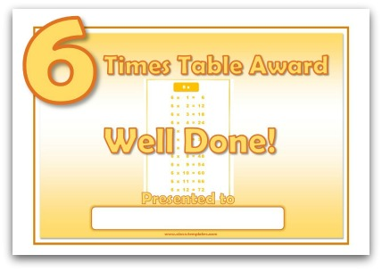 6 Times Table Award Certificate Template - award certificates templates