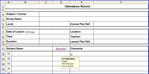 attendance sheet for students – Sample Attendance Sheets