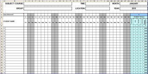 attendance sheet template - attendance spreadsheet template excel