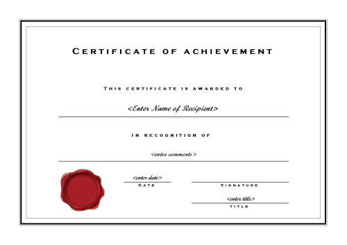 Free Printable Certificates of Achievement - certification templates