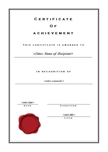 Certificate of Achievement 102