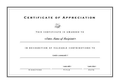 Certificates of Appreciation 002 - formal certificate template