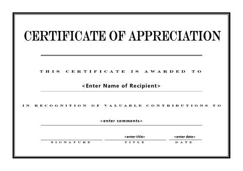Free Printable Certificates of Appreciation - free printable editable certificates