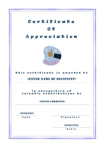 Certificates of Appreciation 101 - certificate of appreciation template for word
