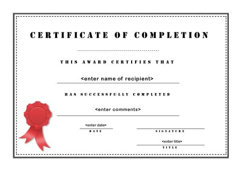 template of certificate of completion - Onwebioinnovate - blank achievement certificates
