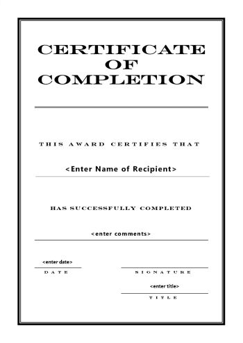 Certificate Of Completion Template Portrait