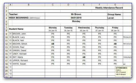 Weekly Attendance Sheet - attendance template