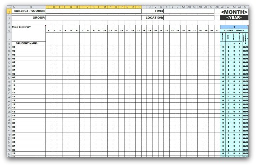 Monthly Attendance Templates in MS Excel - attendance template