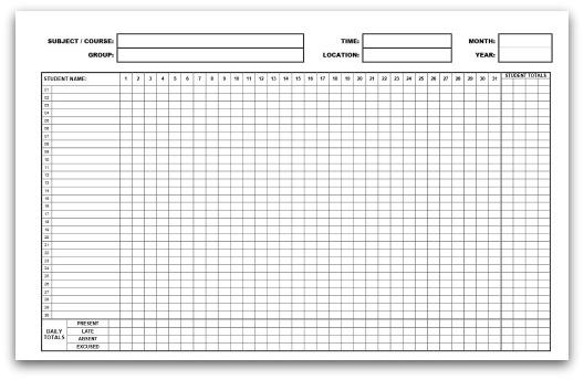 printable attendance forms - Romeolandinez - printable attendance sheet