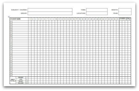Monthly Attendance Forms - attendance sheet template word