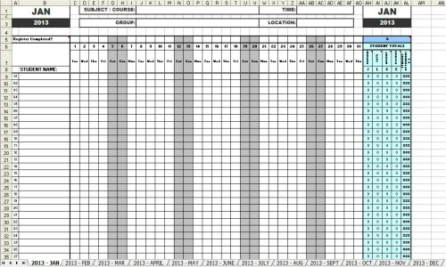 Attendance Sheets 2013 in MS Excel format - sample attendance sheet template