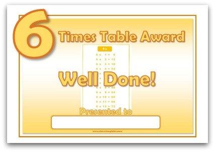 6 Times Table Award Certificate Template - award certificate template