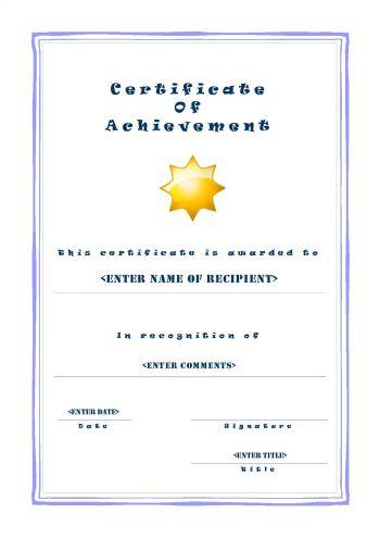 Certificate of Achievement 101
