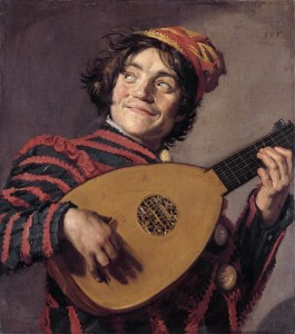 Young man playing the lute  *oil on canvas  * 70 x 62 cm  *signed t.r.: FH F  *ca. 1623-1624