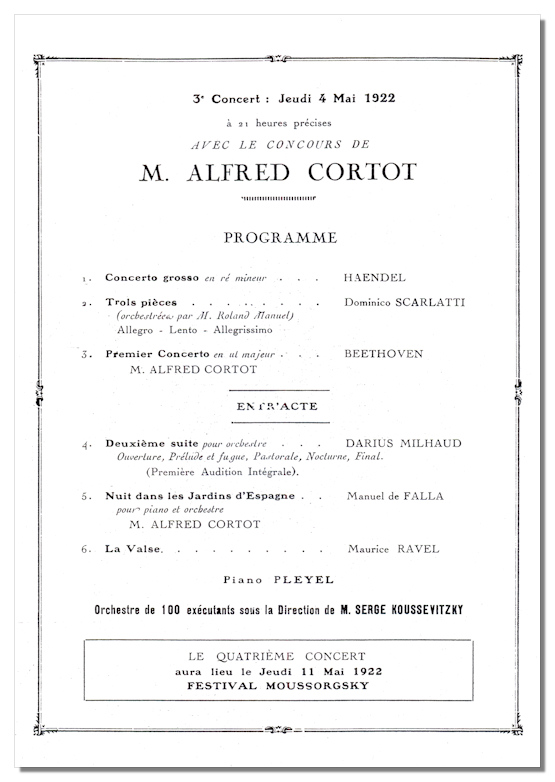 Classical Net - Koussevitzky Concert Programs - Théâtre National de