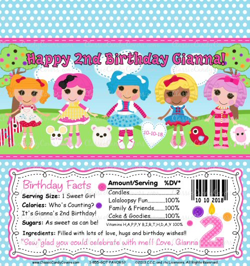 Personalized Lalaloopsy Inspired Candy Bar Wrappers