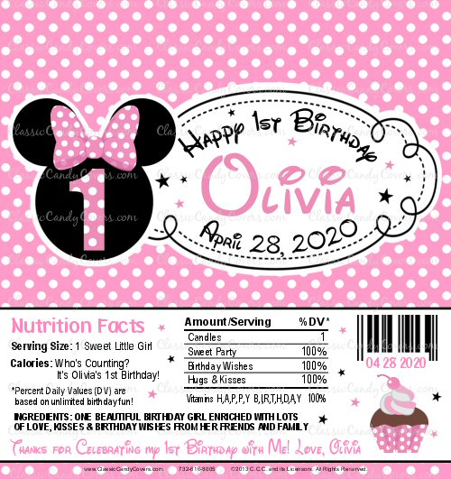 Personalized Minnie Mouse Themed Candy Bar Wrappers