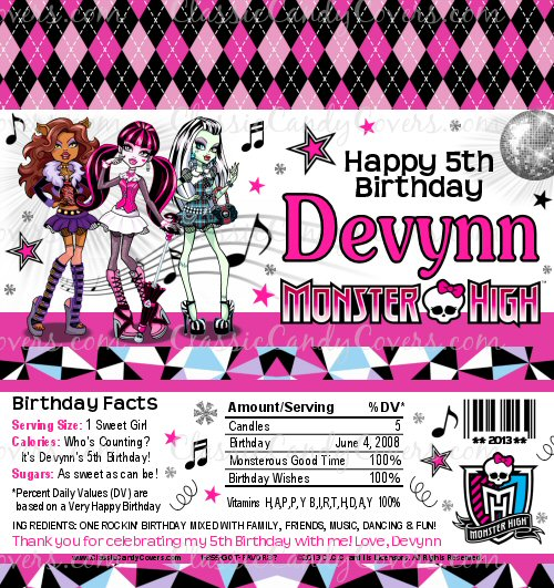 Personalized Monster High Inspired Candy Bar Wrappers - hershey wrappers