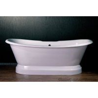 "71"" Cast Iron Double Ended Slipper Pedestal Tub 