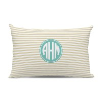 Monogram Pillow Rope Stripe Gold
