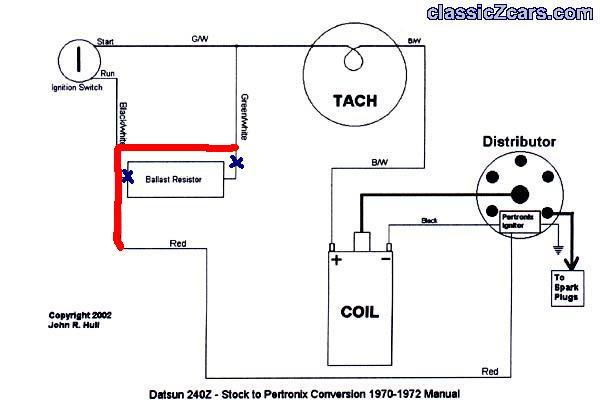 1974 datsun 260z wiring ballast resistor