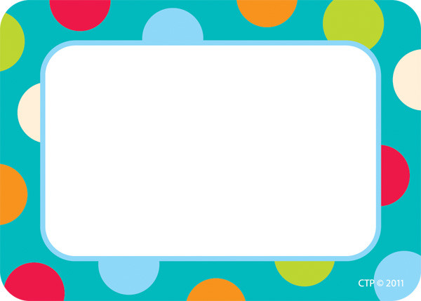 Name Label Badges / Stickers Dots on Turquoise Design Badges Free - label