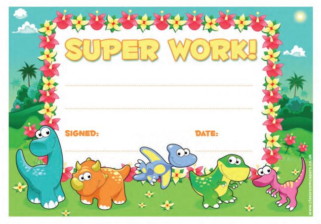 School Certificate Super Work -30 Dinosaur Design Certificates for