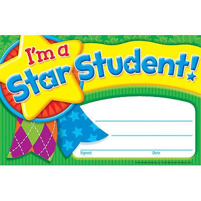 Teacher Certificates for Children I\u0027m a Star Student Praise