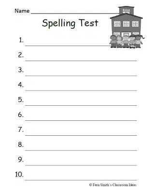 Fern Smith\u0027s FREE School Themed Blank Spelling Tests - Classroom - spelling test template