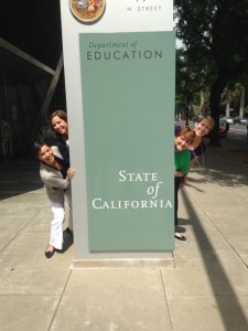 Clockwise from bottom left: CSTA Board Members Susan Zwiep, Jeanine Wulfenstein, Lisa Hegdahl, and Laura Henriques outside the California Department of Education in Sacramento, CA.