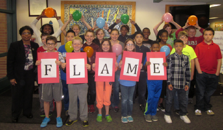Courtesy of Mrs. Sandra Brown, Allisonville Elementary School Students show enthusiasm for the Flame Challenge.
